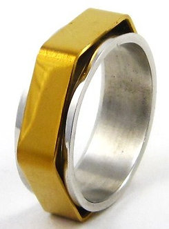 SSR36 Gold Hexagonal Spinning Stainless Steel Ring