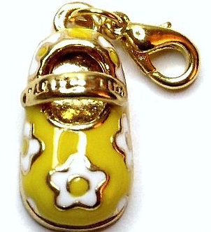 NP161 Adorable 14K Gold Yellow Baby Shoe Charm Lobster Clasp