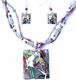 NP137 Colorful Romantic Love Scene Pendant Necklace Earrings Set