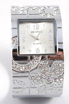 WW129 Clear Crystal Chunky Fashion Cuff Watch