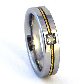 TU6001 - 5mm Square CZ Gold Stripe Tungsten Carbide Ring
