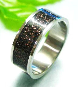 SSR1794 Black/Copper Glitter Stainless Steel Band Ring