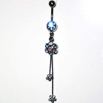 BJ41 Sexy Austrian Crystal Flower Dangle Belly Navel Ring