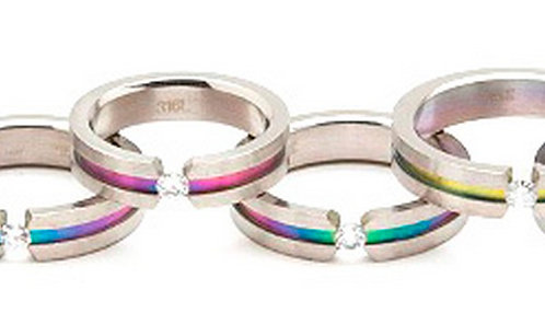 SSR18 Gay Pride Floating CZ Rainbow Titanium Ring