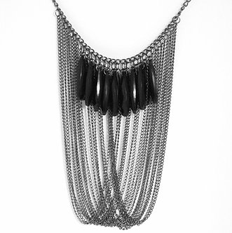 NP43 Multi Chain Black Beads Cascade Drop Chunky Necklace