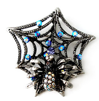 BP42 Antique Silver Spider Web Crystal Halloween Brooch