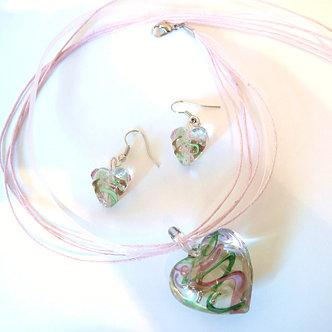 NP103 3D Green/Pink Murano Glass Heart Necklace Earrings Set