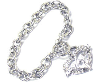 BR71 Crystal Pave Babyphat Cat Heart Toggle Bracelet