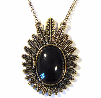 NP2008 Antique Gold Feather Black Cabochon Locket Pendant