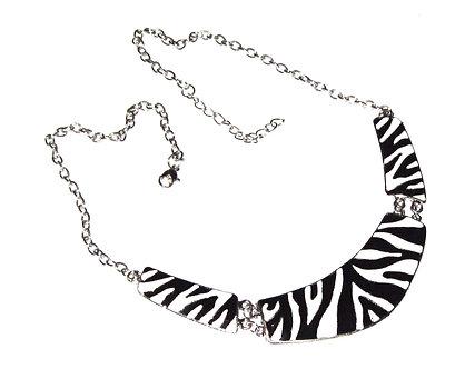 NP2005 Black White Zebra Print Metal Choker Silver Chain Necklace