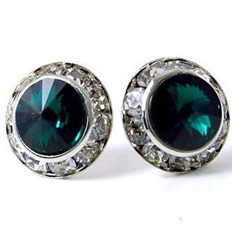 EA305 Emerald Green Swarovski Crystal Channel Set Post Earrings