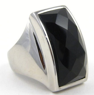SSR2387 Faceted Black Onyx Chunky Stainless Ring