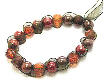 BR18 Brown Ribbon Wrapped Copper Pearl Stretch Bracelet