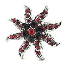 OS18 Red Crystal Anti Tarnish Star Cocktail Ring