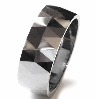 TU3046 - 8mm High Polish Multi Faceted Tungsten Carbide Ring