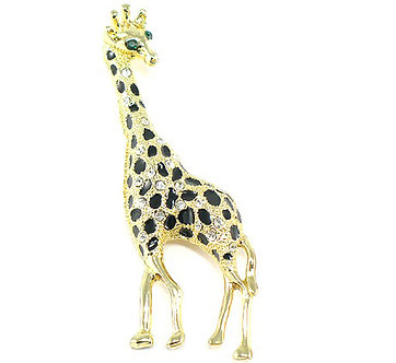 BP12 Unique Clear Crystal Gold Giraffe Brooch