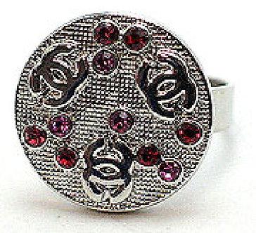 OS31 Red Pink Crystal Anti Tarnish Ring