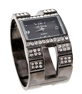 WW126 Gunmetal Crystal Chunky Fashion Watch
