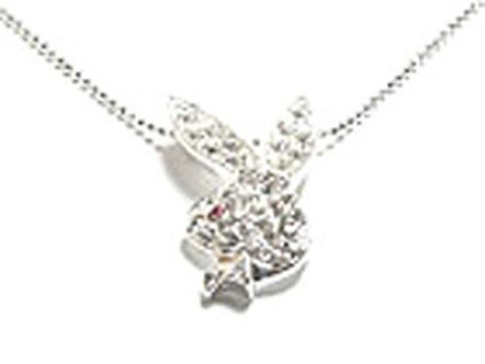 NP42 Sexy Playboy Bunny CZ Pave Rhodium Pendant Necklace