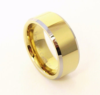 TU6002 - 9mm Silver Edge Gold Tungsten Carbide Wedding Band Ring
