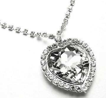 NP55 Stunning Clear Crystal Heart Pendant Necklace