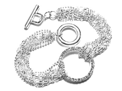 BR04 Multichain Crystal Ring Celebrity Style Rhodium Bracelet