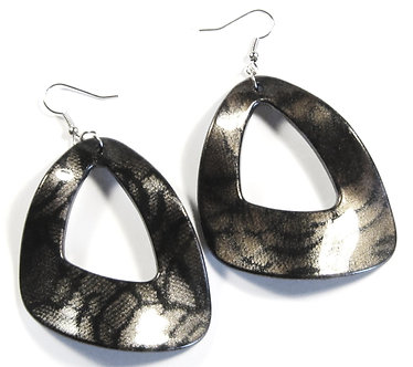 EA114 Charcoal Glossy Acrylic 2.25 inch Wavy Shape Dangle Earrings