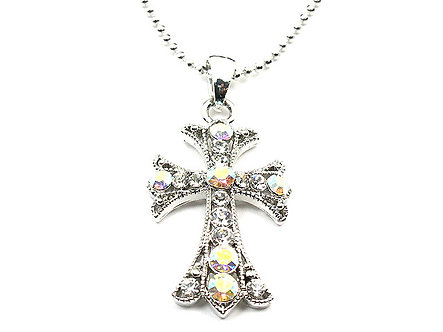NP15 Delicate Ball Chain Crystal Cross Pendant - Choice of Color