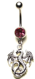 BJ25 Pink Crystal Gothic DRAGON Dangle Belly Ring