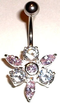 BJ36 Sexy Sparkling Crystal Orchid Flower Belly Ring