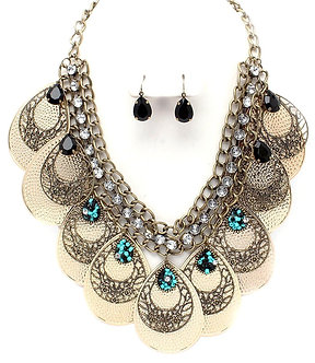 NP1022 Metal Discs Beads CZ Chains Chunky Statement Necklace