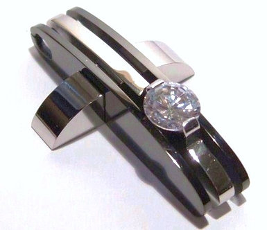 SSP4123 CZ Two Tone Black Stainless Steel Cross Pendant w SS Chaint