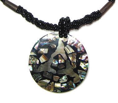 NP155 Abalone Shell Circle Pendant Necklace
