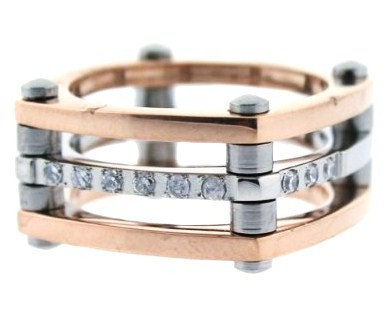 SSR1737 Unique Square Copper Stainless Steel CZ Ring
