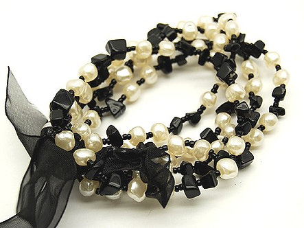 BR25 Black Gemstones/Pearls Black Ribbon Multi Row Stretch Bracelet