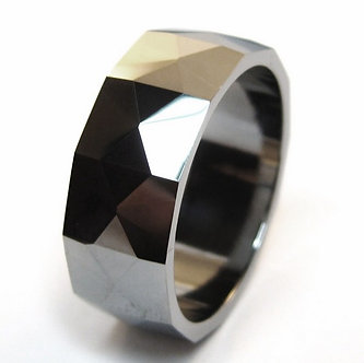 TU3045 - 8mm High Polish Multi Faceted Tungsten Carbide Ring