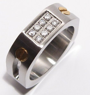 SSR2253 Octagonal Clear CZ Stainless Steel Ring with Screws