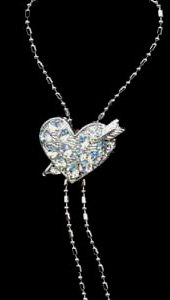 NP77 Crystal Heart Arrow on Y Chain Necklace Pendant