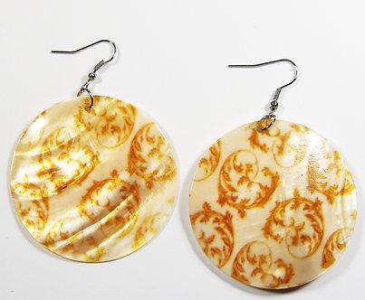 EA140 Art Deco Pattern Dangle Shell Earrings