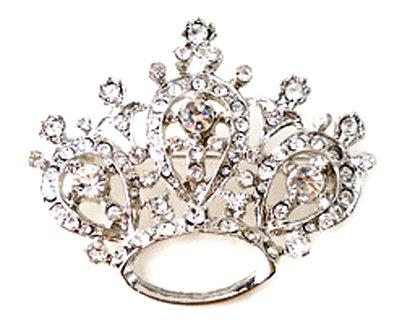 BP59 Sparkling Austrian Crystal Paved Crown Brooch