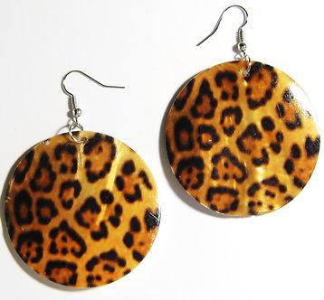EA149 Leopard Print Dangle Shell Earrings