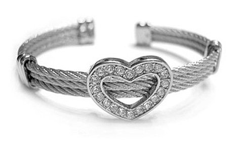 BR30 Crystal Pave Heart Wire Cable Bangle Bracelet