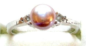 PR02 - 14K White Gold Plated Pink Pearl Ring