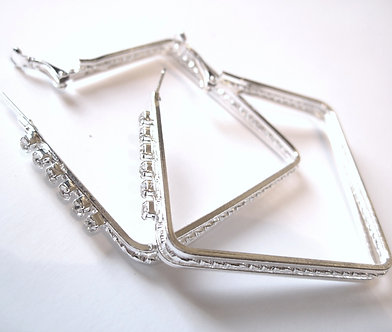 EA88 Sparkling Clear CZ Silver Square Hoop Earrings
