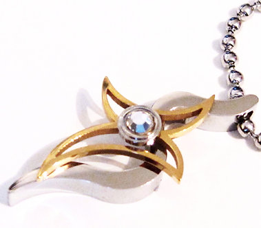 SSP4295 CZ Gold Stainless Steel Cross Ball Chain Pendant