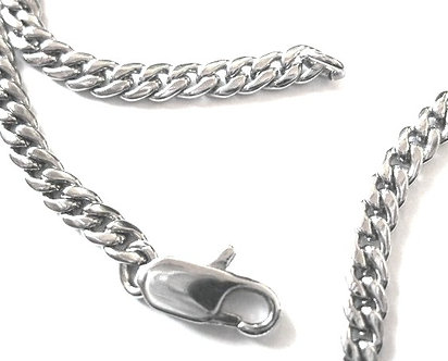 """NP162 - 4mm Rodhium Finish Curb Chain Necklace - 24"""""""