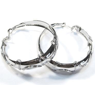 EA98 Twisted Wire Silver Hoop Earrings