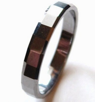 TU3049 - 4mm High Polish Angled Cut Tungsten Carbide Ring