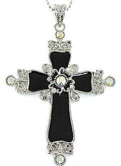 NP82 AB Crystal Pendant 3.5 inch Black Cross Pendant