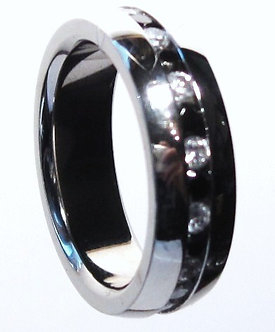 SSR1040 Black and Clear CZ Eternity Stainless Steel Ring